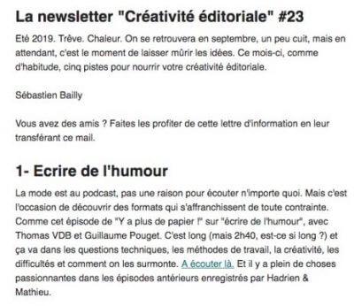 Extrait newsletter Sébastien Bailly