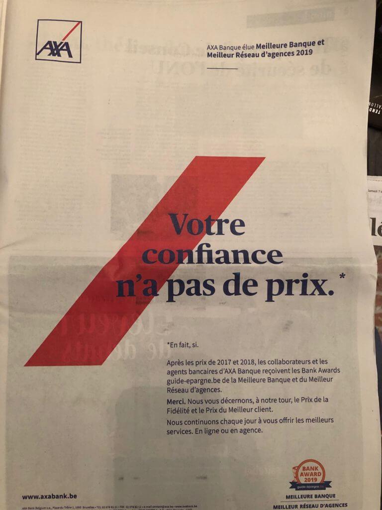 Un copy print pour la presse belge pour AXA Banquer élue meilleure banque et réseau d'agences 2019.