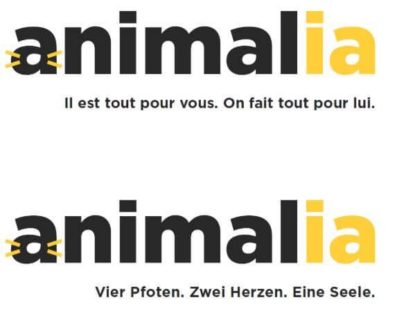 logo et baseline de la marque suisse Animalia pour chiens et chats